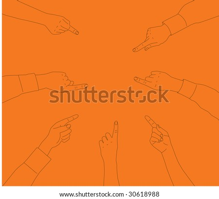 Seven separately traced hands point at a central space. Ideal to place a product into or just use each hand individually.