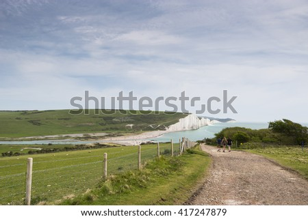 Seven Sisters Cliffs in South Downs in East Sussex, between the towns of Seaford and Eastbourne in southern England. - stock photo