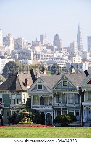 Seven Sisters in San Francisco-2 - stock photo