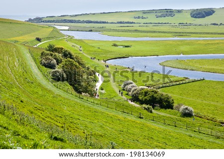 Seven Sisters National Park, Cuckmere river and country walks, East Sussex, England - stock photo