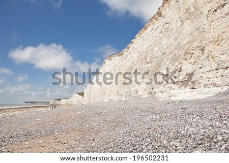 Seven Sisters National Park, view of the cliffs and the beach, East Sussex, England.  - stock photo