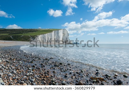 Seven Sisters National park, white cliffs, East Sussex, England - stock photo