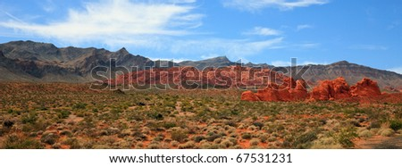 Seven Sisters rock formations in the Valley of Fire State Park, Nevada. - stock photo