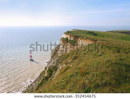 Seven sisters white cliffs south east england.