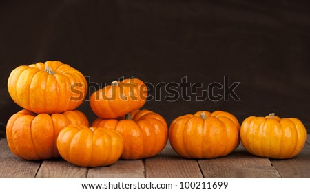 Seven Small Pumpkins Lined Up in a Row on Rustic Old Wooden Boards Against a Dark Brown Fabric Background with Copy Space - stock photo