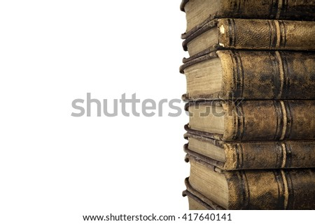 Seven Stacked Old Shabby Books Isolated On White Background, Closeup, Front View - stock photo