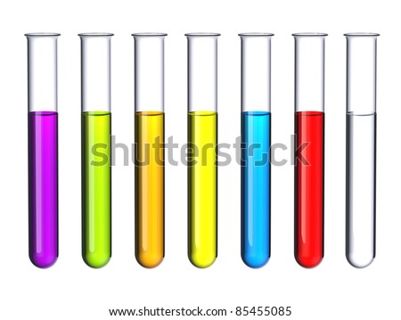 Seven test tubes with a colored liquid isolated on white. - stock photo