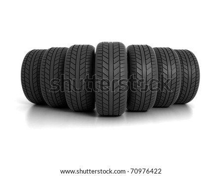 Seven Tires Formation Isolated on White Background - stock photo