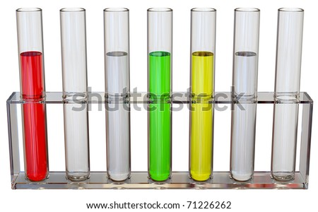 seven tubes with chemical samples in a laboratory for making tests