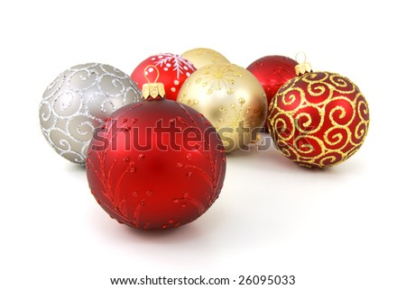 Seven various glass christmas baubles on pure white background - stock photo