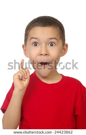 "seven year old boy exclaiming ""ah-ha"" isolated on white"