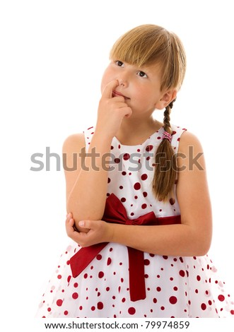 Seven years girl picking her nose isolated on white - stock photo