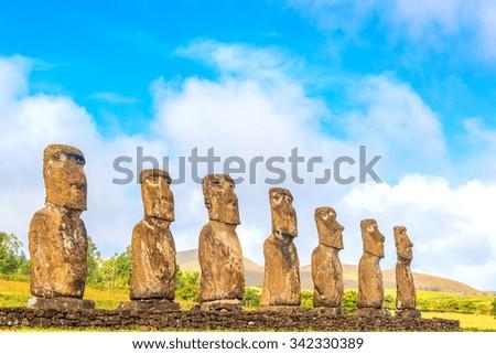 Sevens Moai statues at Ahu Akivi on Easter Island, Chile - stock photo
