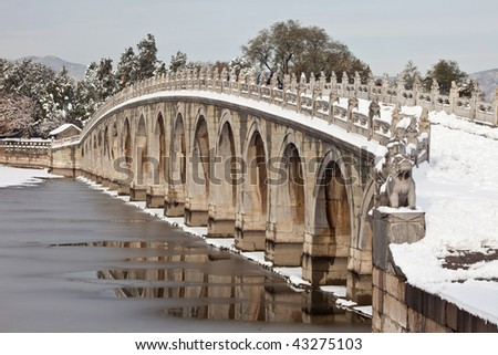 Seventeen-Arch Bridge in the snow