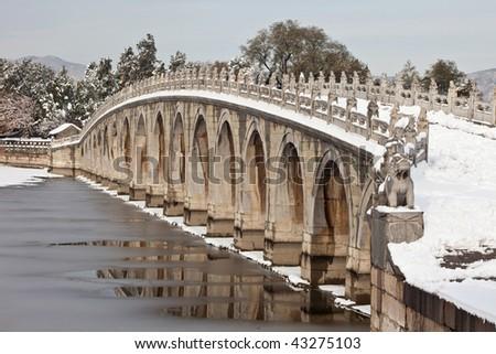 Seventeen-Arch Bridge in the snow - stock photo