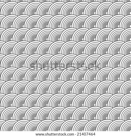 Seventies illustrated circular abstract design that seamlessly repeats - stock photo