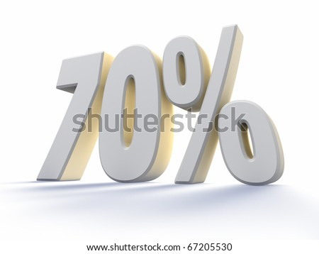 Seventy percent, large white number with backlit, isolated on white background. 70% - stock photo