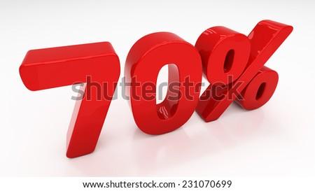 Seventy percent off. Discount 70.  Percentage. 3D illustration - stock photo
