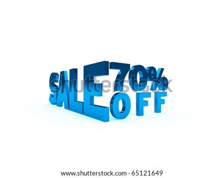 seventy percent off - sale symbol isolated on white - stock photo