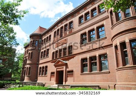 Sever Hall in Harvard Yard, Harvard University, Cambridge, Massachusetts, USA - stock photo