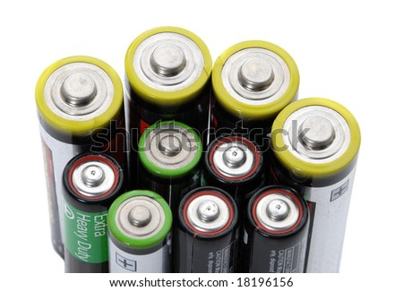 Several AA  batteries on white background energy concept - stock photo