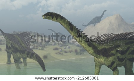 Several Agustinia dinosaurs exploring on a hazy day - 3d render. - stock photo