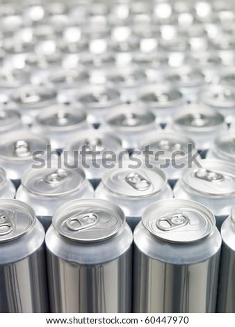 Several Aluminium Cans at a warehouse - stock photo