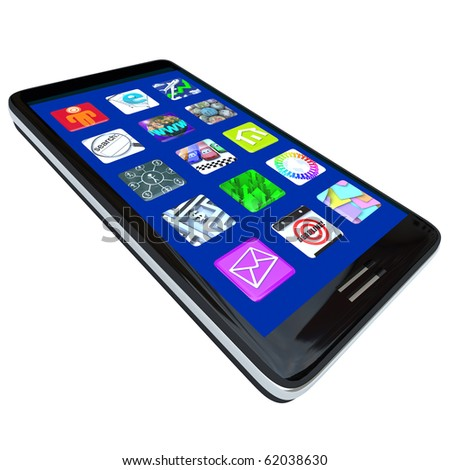 Several Apps on the screen of a modern black smart phone - stock photo