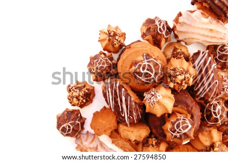 Several Basket with a tasty cookies on a white background - stock photo