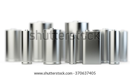 Several batteries in perspective view with depth of field isolated on white background - stock photo