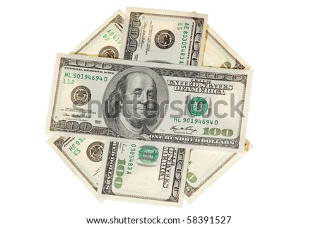 several bills of the dollars on white background