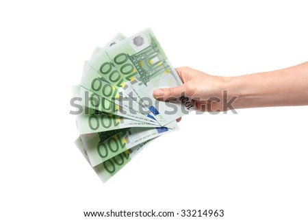 Several bills on one hundred euro in feminine hand