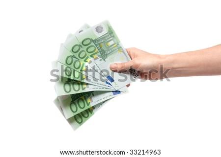 Several bills on one hundred euro in feminine hand - stock photo