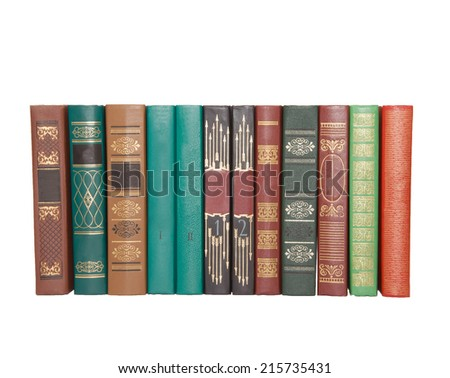 Several books isolated on white background - stock photo