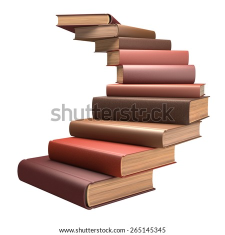 Several books stacked in the form of stairs.  - stock photo