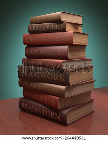 Several books stacked with lessons for achieving success. Clipping path included. - stock photo
