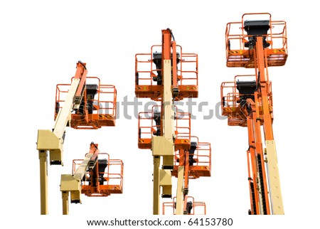 Several boom lifts isolated on white - stock photo