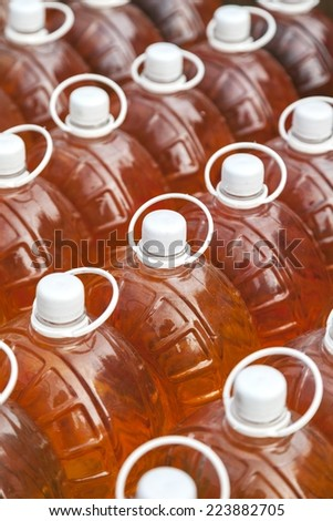 Several bottles with wine - stock photo