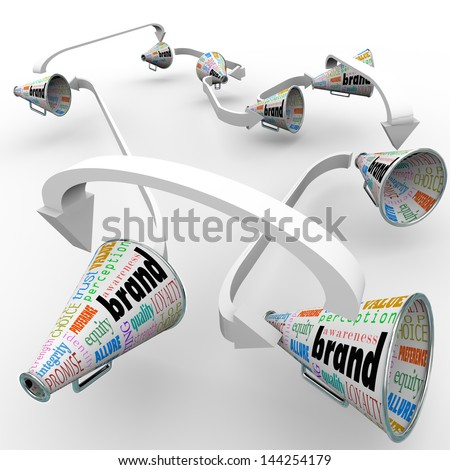 Several bullhorns or megaphones with the word Brand to spread the word and build buzz for your company's reputation or business - stock photo