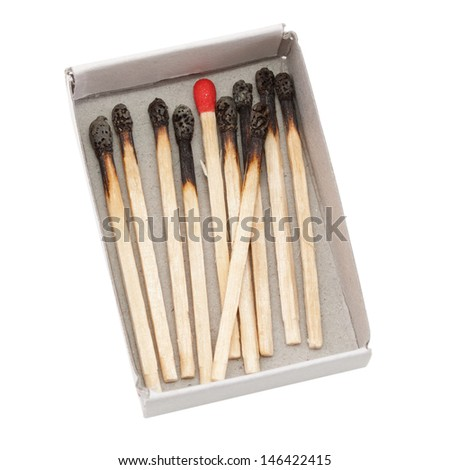 Several burnt matchsticks in the box on a white background. - stock photo