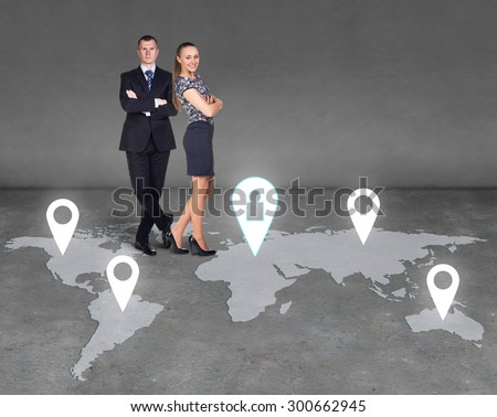Several businessmen who form a global business network - stock photo