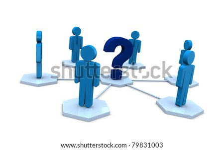 several businessmen with a question mark instead of the leader (3d render)