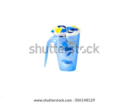 several capsules dishwasher soap isolated on white background - stock photo