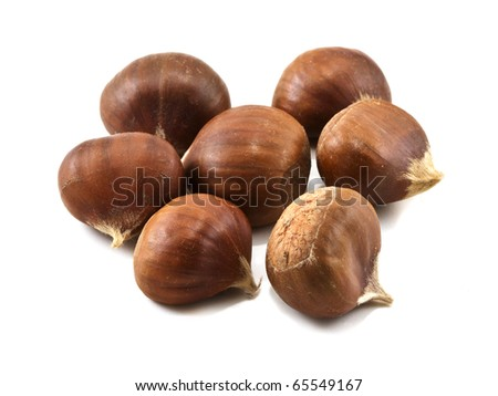 Several chestnuts isolated on white background - stock photo