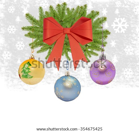 Several christmas decorative ball with bow and pine tree on white background