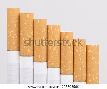 several Cigarette isolated on a white background - stock photo