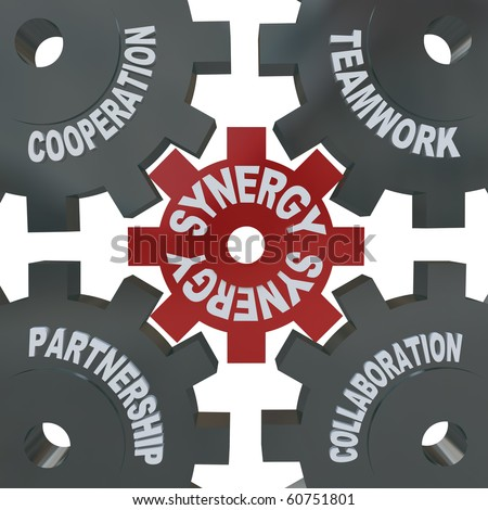 Several cogwheel gears turning together, reading Synergy, Teamwork, Partnership, Collaboration and Cooperation - stock photo