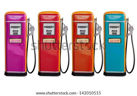several color of old classic oil distributor in gasoline station service  isolated white use for retro and vintage style - stock photo