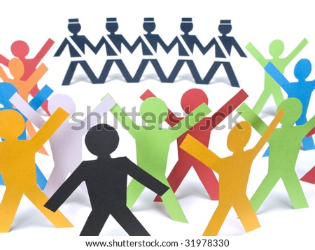 Several color paper figures manifesting before the paper police over a white background. - stock photo