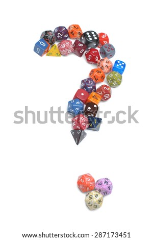 Several colored dice form a large question mark. Isolated on white background - stock photo